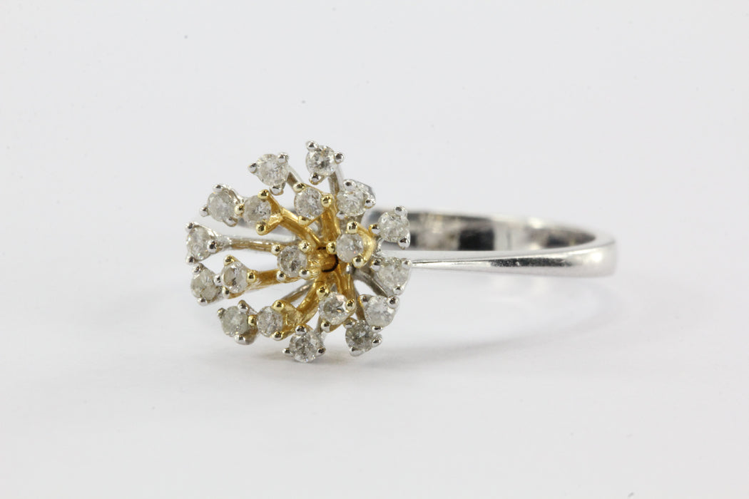 Vintage 14K White Gold Diamond Cluster Ring - Queen May