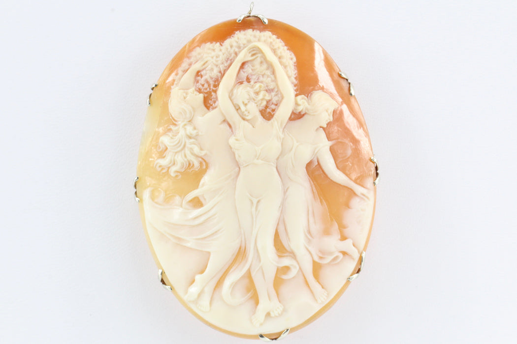 Victorian 14K White Gold Large Three Graces Carved Cameo Pendant/ Brooch c.1890 - Queen May