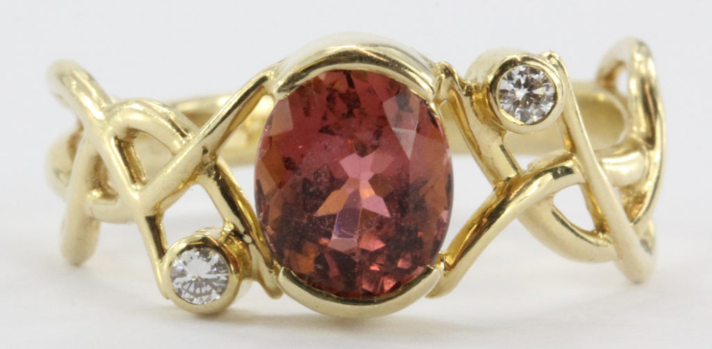 14k Gold Pink Tourmaline And Diamond Ring