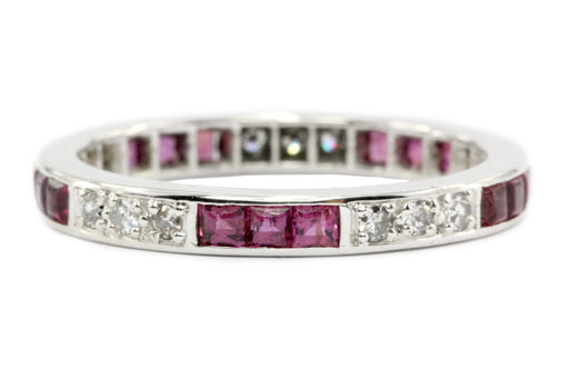 Platinum Art Deco 1CTW Ruby & Diamond Eternity Band c.1920's