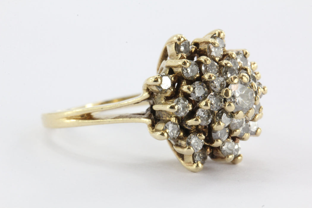 VINTAGE 14K YELLOW GOLD DIAMOND FLOWER CLUSTER RING - Queen May