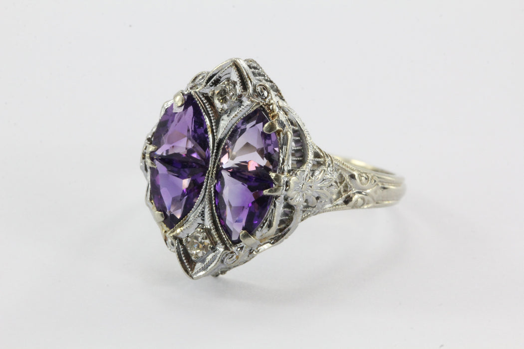 Antique 14K White Gold Amethyst & Diamond Art Deco JJ White Co. Ring - Queen May