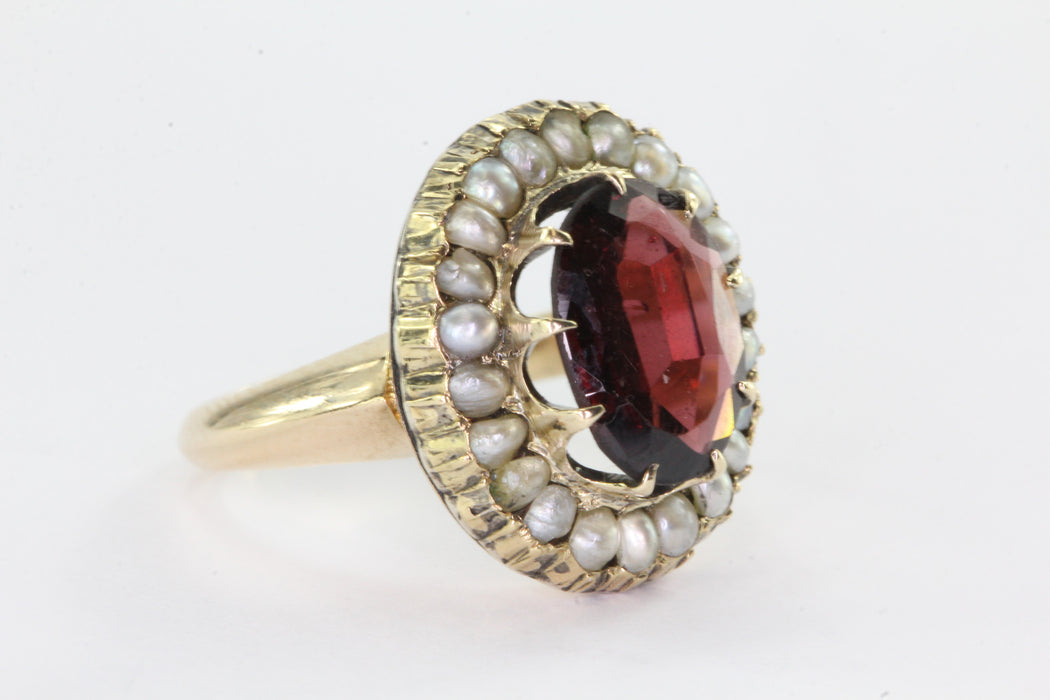 Victorian 14K Gold Garnet Seed Pearl Halo Ring - Queen May
