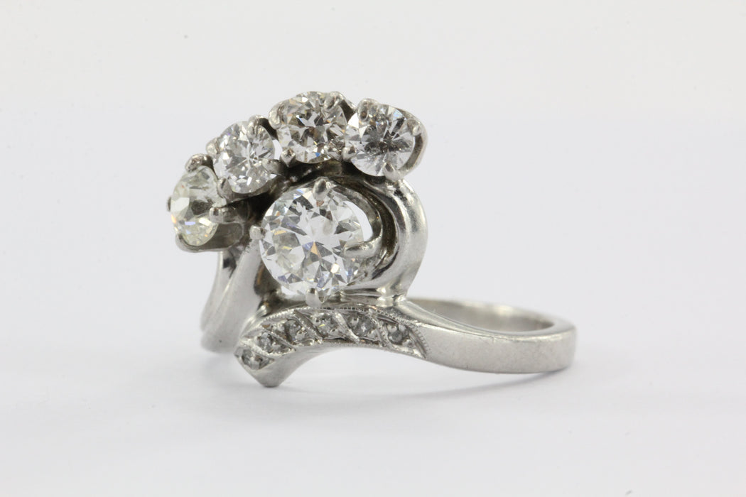 Vintage Art Deco Platinum 2 ctw Diamond Ring by Byard Brogan of Philadelphia - Queen May