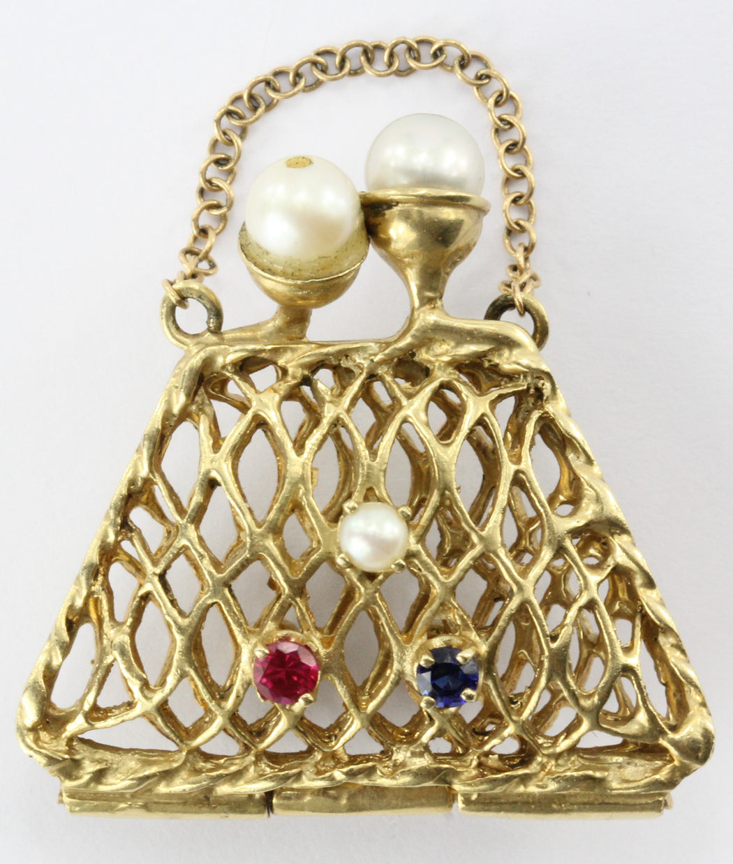 14K Gold Woven Sapphire, Ruby, & Pearl Opening Purse Pendant / Charm