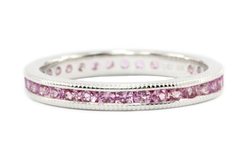 18K White Gold Natural Pink Sapphire Full Eternity Band .75CTW