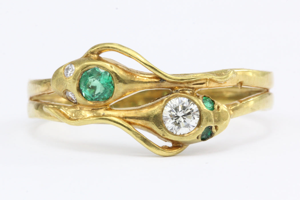 Vintage 14K Yellow Gold Emerald Diamond Intertwined Snake Ring - Queen May