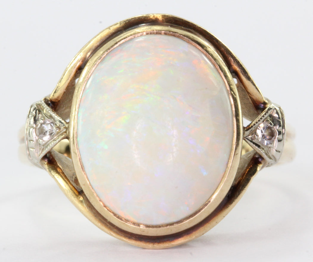 Antique Gothic Revival 14K Gold Opal & Diamond by Church & Co - Queen May