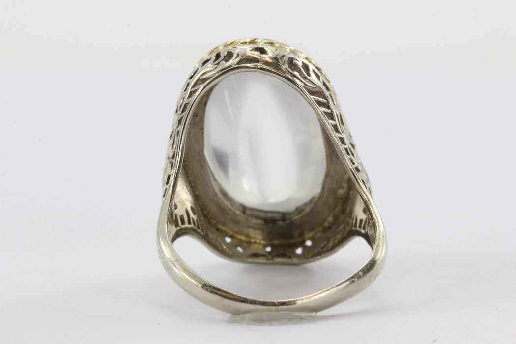 Antique Art Deco 14k White Gold Huge 8 Carat Moonstone Chunky Ring - Queen May