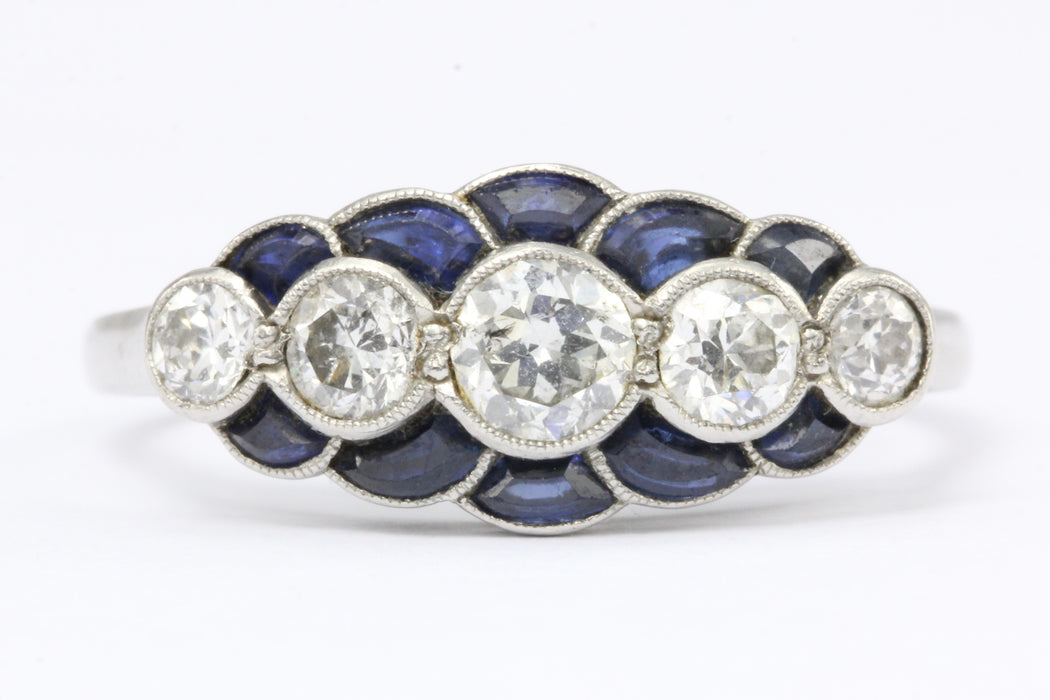 Art Deco Platinum Scalloped Edge Blue Sapphire and Old European Cut Diamond Ring - Queen May