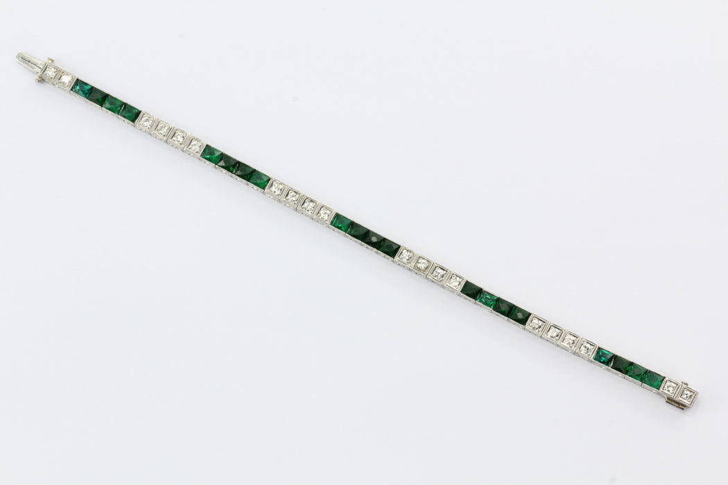 Vintage Art Deco Platinum French Cut Emerald & Diamond Tennis Bracelet - Queen May