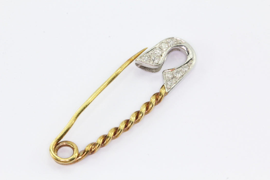 Vintage 14K White & Yellow Gold Diamond Safety Pin Brooch - Queen May