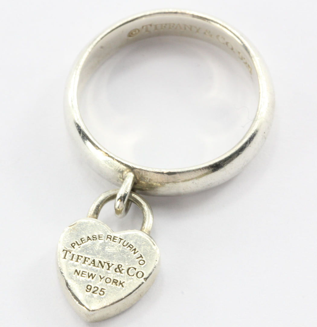 1dffdace4 Tiffany & Co Sterling Silver Please Return To Tiffany Heart Tag Padlock Ring  - Queen ...