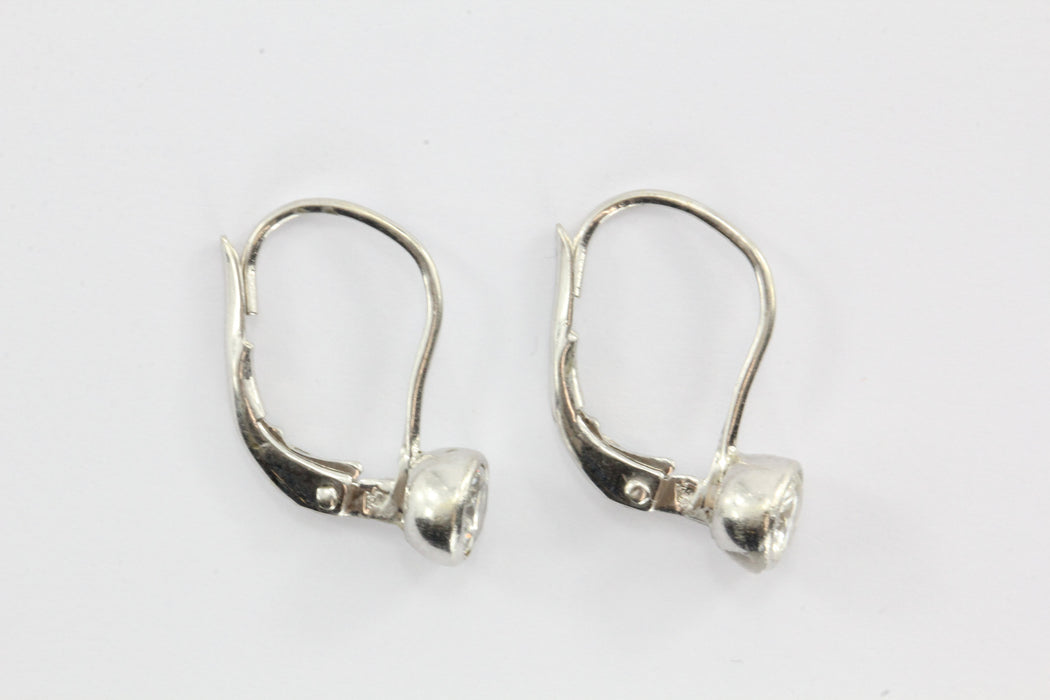 14k White Gold .70 ctw H Si2 Diamond Leverback Drop Earrings - Queen May