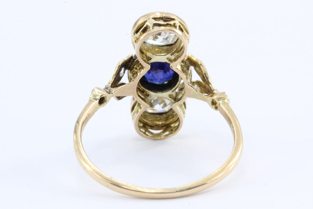Edwardian 18K Yellow Gold Platinum Top Diamond and Sapphire Three Stone Ring - Queen May