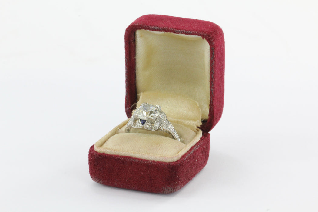 Antique Art Deco 3 Carat Total Weight Platinum Old European Diamond Sapphire Engagement Ring - Queen May