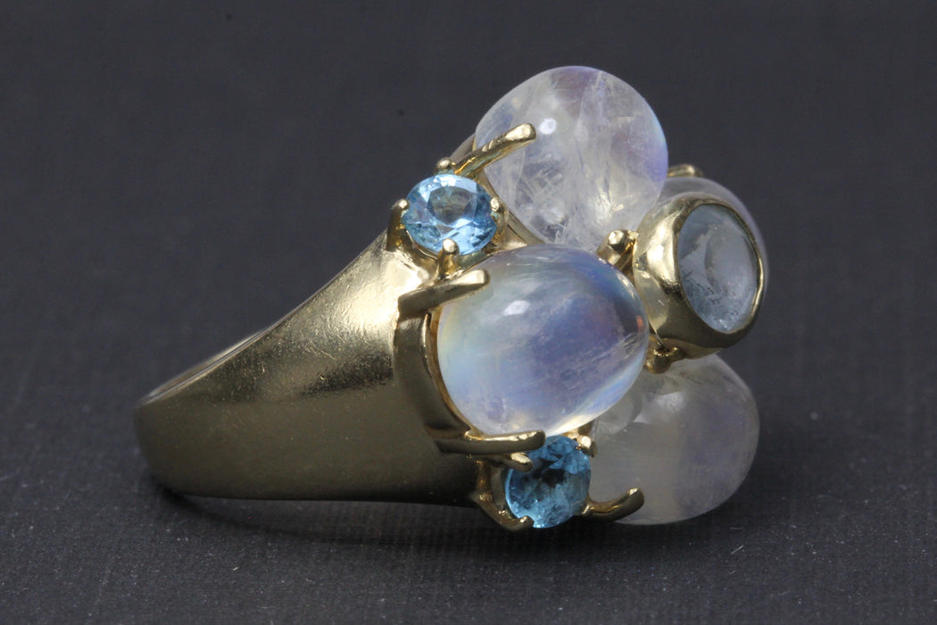 Vintage 14K Yellow Gold Moonstone Cluster Ring - Queen May
