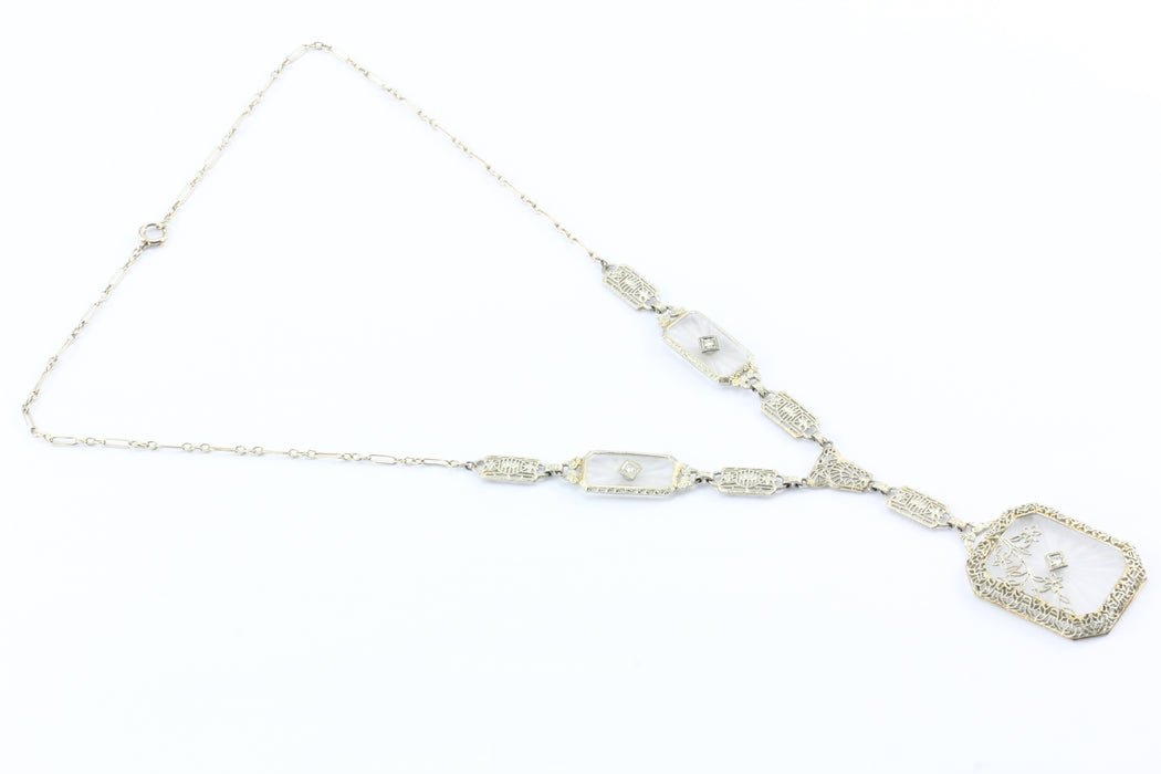 Art Deco 14K White Gold Rock Crystal Diamond Filigree Necklace c.1920's - Queen May