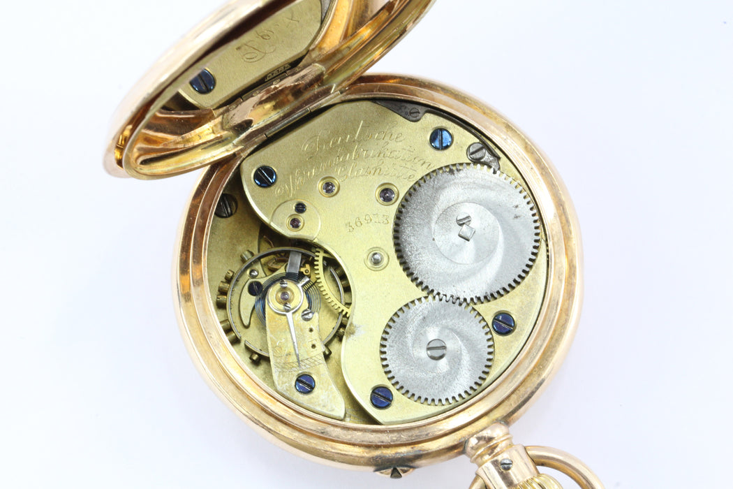 A. Lange & Sohne Glashutte I/S 43mm German 14K Gold Pocket Watch Circa 1897