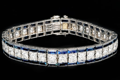 Art Deco Platinum 6 CTS Sapphire and 4.5 CTS Old European Cut Diamond Bracelet - Queen May
