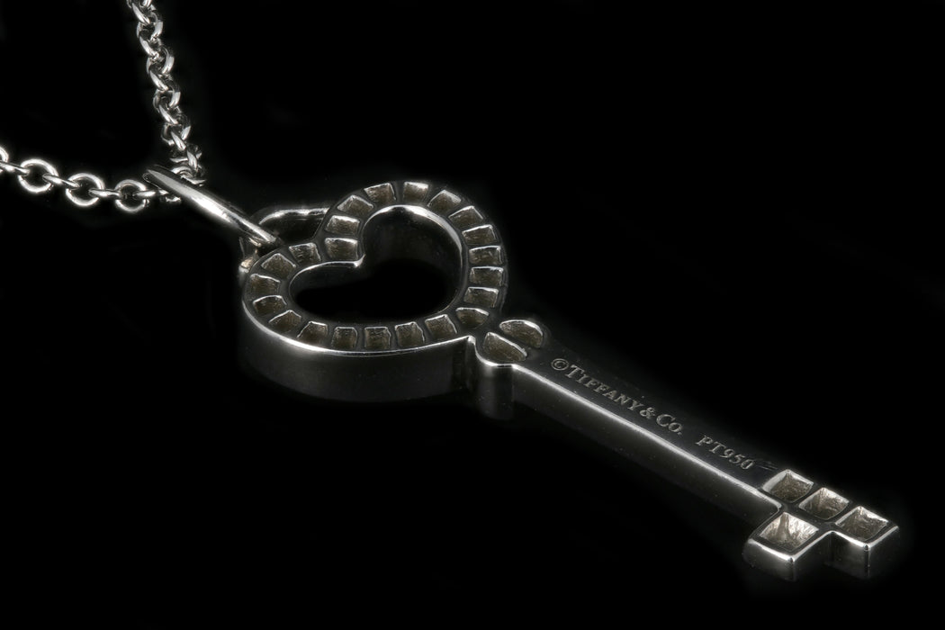 Tiffany Platinum Heart Key Diamond Pendant - Queen May