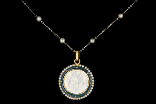 Antique English 18K Yellow Gold, Enamel, and Mother of Pearl Religious Pendant Necklace - Queen May