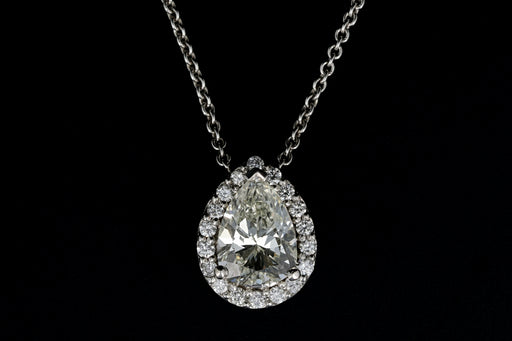 14K White Gold 1.20 Carat Pear Shaped Diamond Halo Pendant Necklace