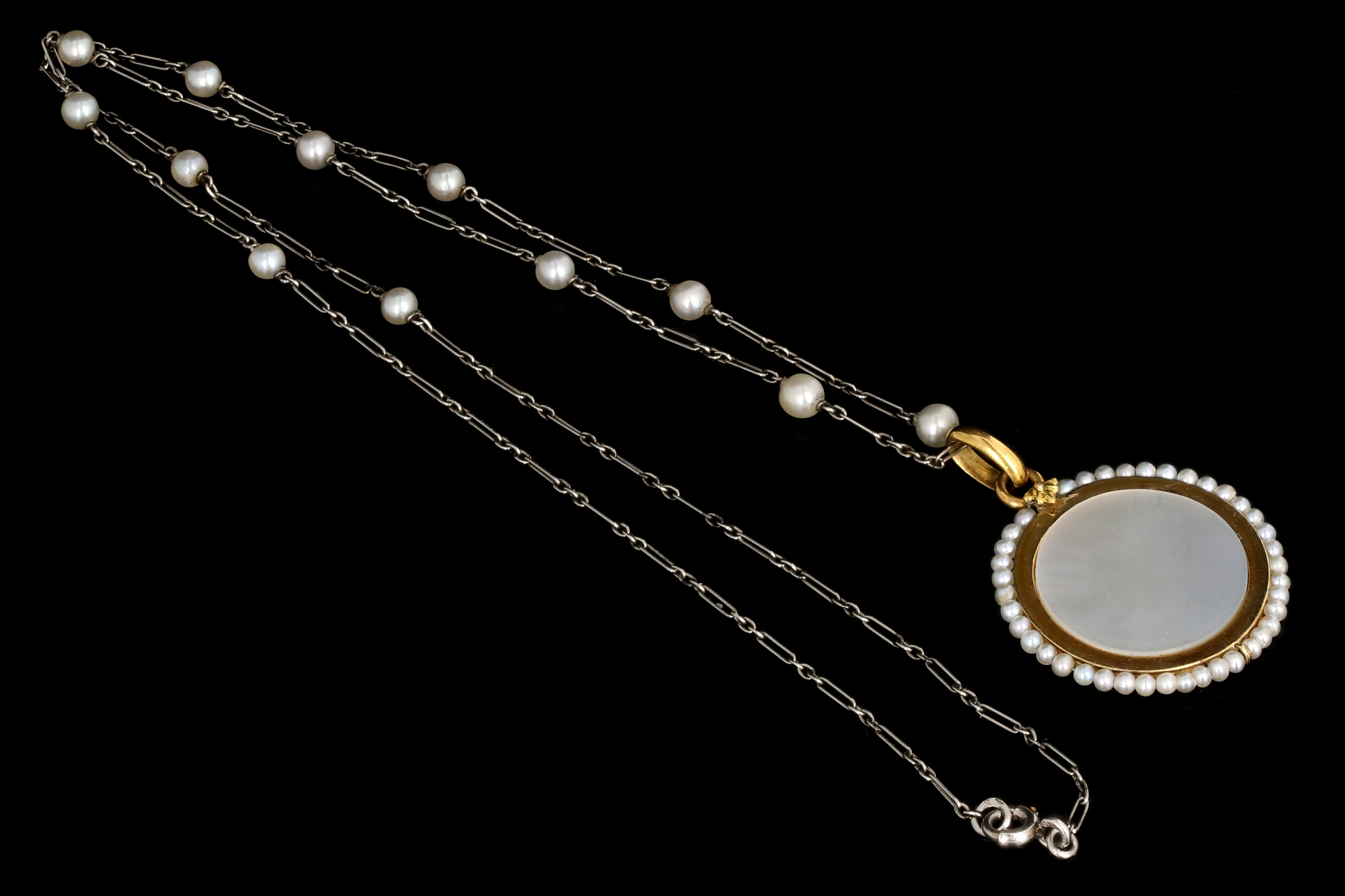 Antique English 18K Yellow Gold, Enamel, and Mother of Pearl Religious Pendant Necklace