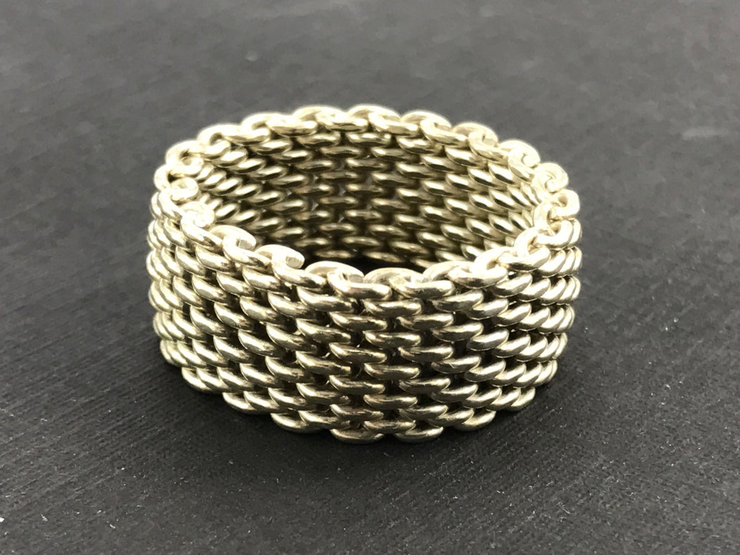 760fa92a55d Tiffany   Co Sterling Silver Somerset Mesh Band Ring Size 9.25 - Queen ...
