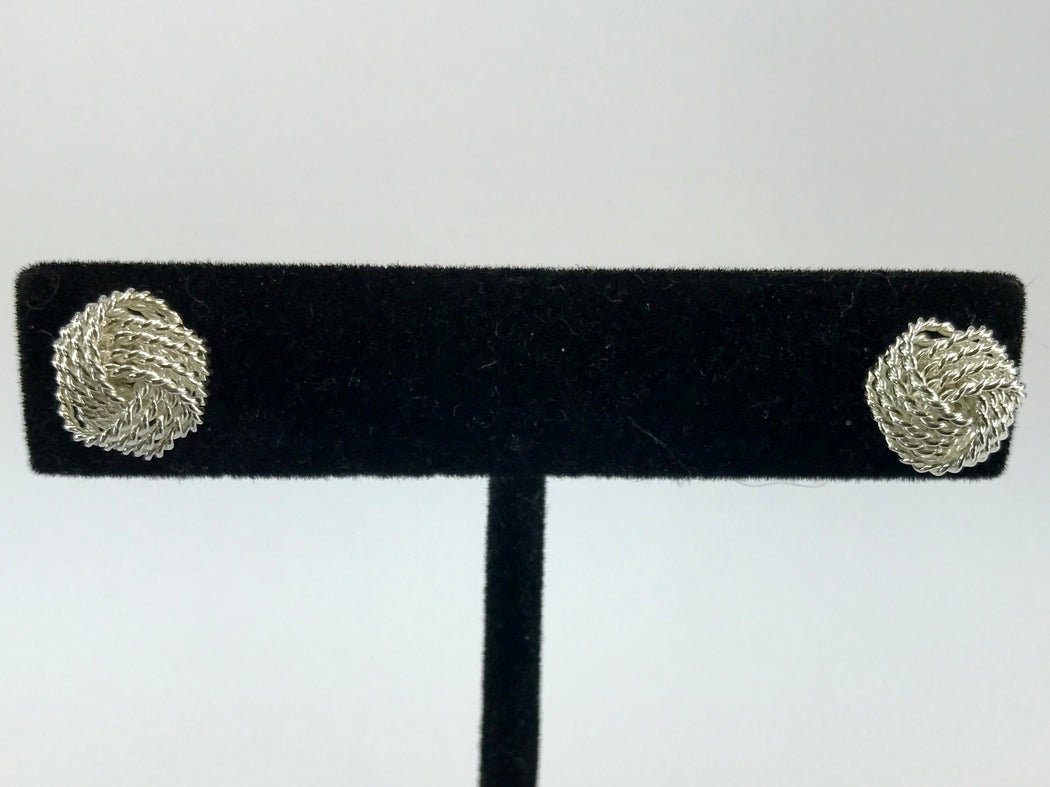 Tiffany & Co Sterling Silver Somerset Mesh 10mm Knot Earring Studs - Queen May