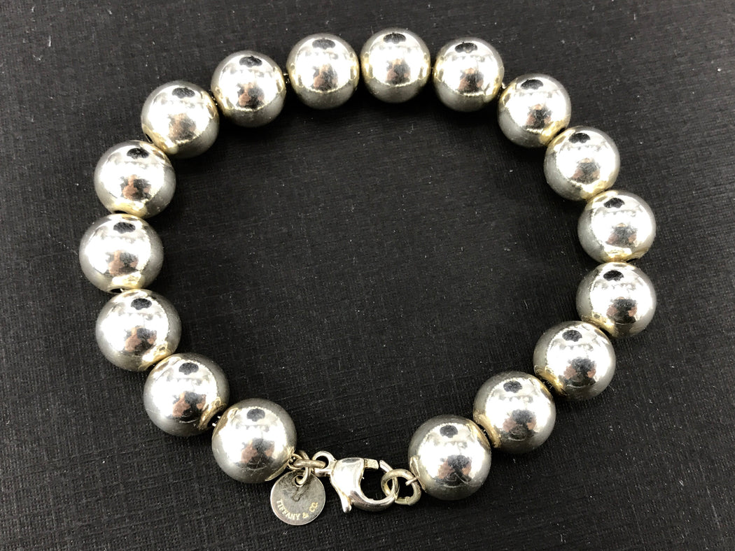 "Tiffany & Co Sterling Silver 10mm Ball Bracelet 7.25"" - Queen May"