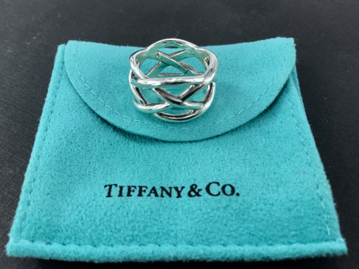 3f595db0e Tiffany & Co Sterling Silver Wide Knot Weave Band Ring Size 7 - Queen May