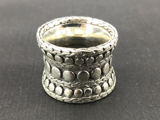 John Hardy Sterling Silver Dot Collection Wide Concave Band Ring Size 8.75