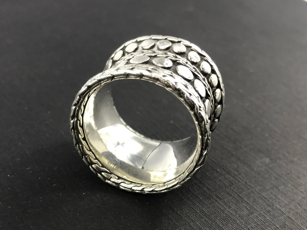 John Hardy Sterling Silver Dot Collection Wide Concave Band Ring Size 8.75 - Queen May
