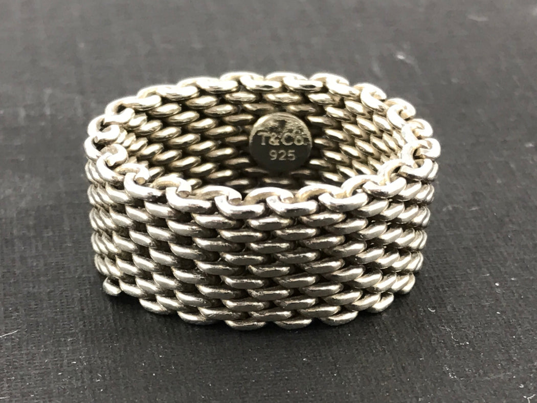 a3b138c4d574d Tiffany & Co Somerset Sterling Silver Mesh Ring Band Size 9