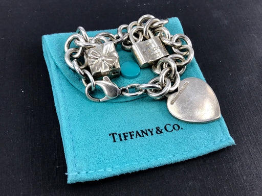 Tiffany & Co Sterling Silver Heart Tag Bracelet with Lock & Gift Box Charms 7""