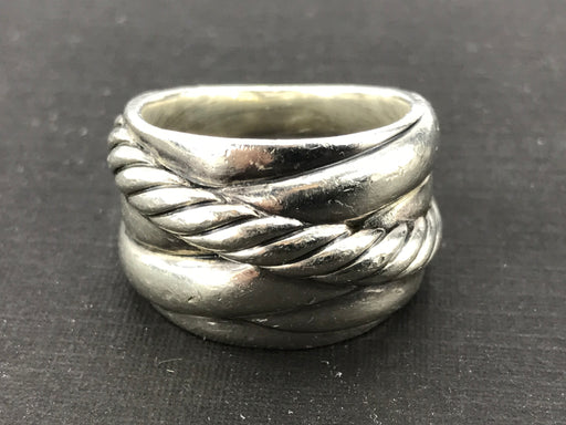 David Yurman Sterling Silver 15mm Crossover Wide Band Ring Size 6.75