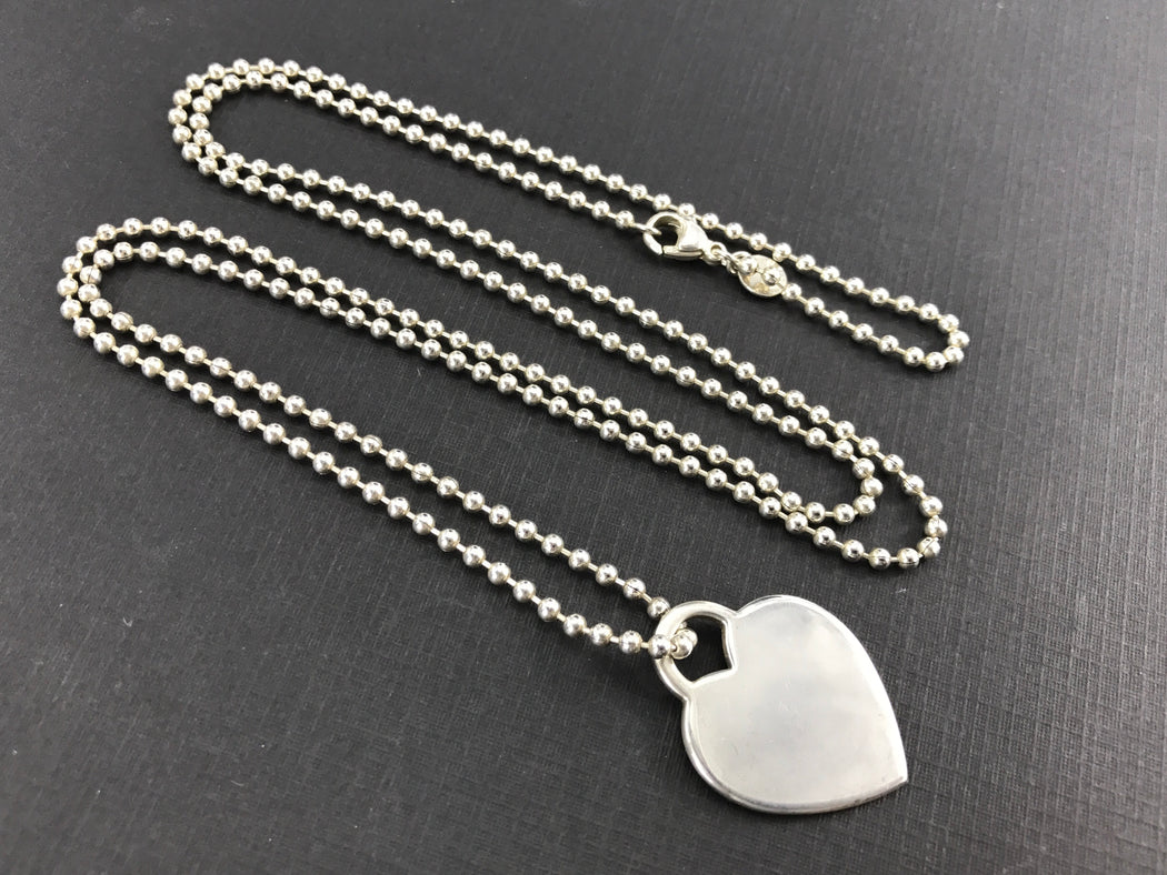 "Tiffany & Co Sterling Silver Please Return To Heart Tag 34"" Ball Bead Necklace - Queen May"
