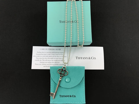 Tiffany & Co Sterling Silver Crown Key Pendant Necklace New in Box & Pouch