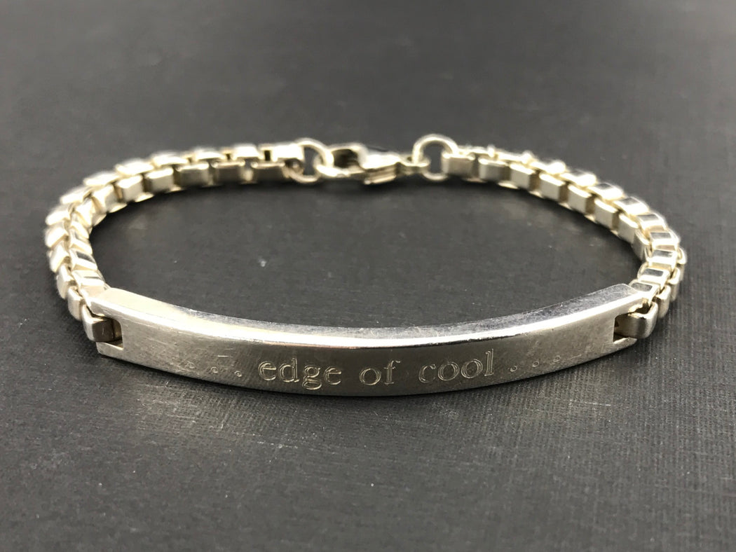 "Tiffany & Co Sterling Silver Venetian Link ID Bracelet 6.75"" ""Edge of Cool"" - Queen May"