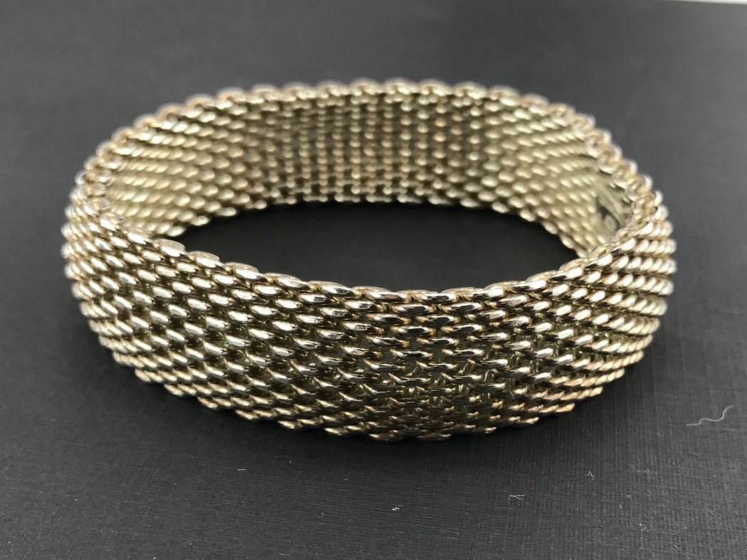 Tiffany & Co Sterling Silver Somerset Mesh 15mm Bracelet - Queen May