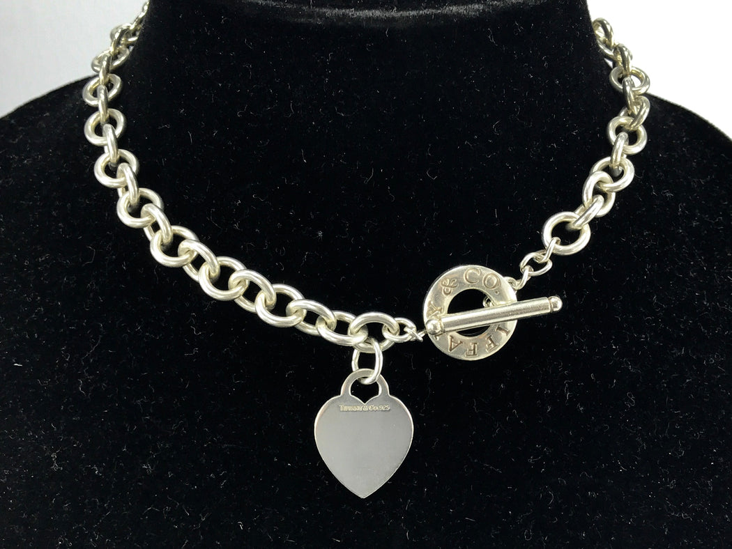 "Tiffany & Co Sterling Silver Heart Tag Toggle Necklace 16.25"" - Queen May"