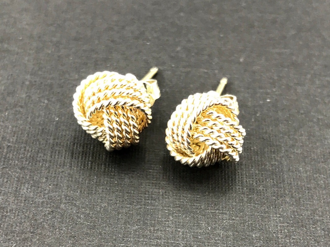Tiffany & Co Sterling Silver Knot Rope Ball Earring Studs - Queen May
