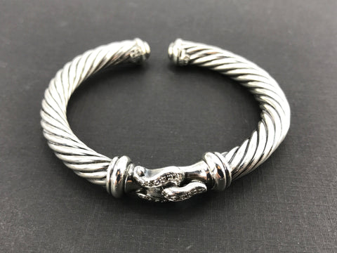 David Yurman Sterling Silver 7mm Diamond Buckle Cable Cuff Bracelet