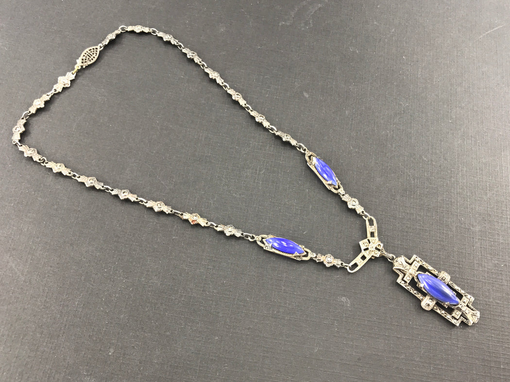 Art Deco Sterling Silver Marcasite Purple Chalcedony Birks Necklace c.1920's - Queen May