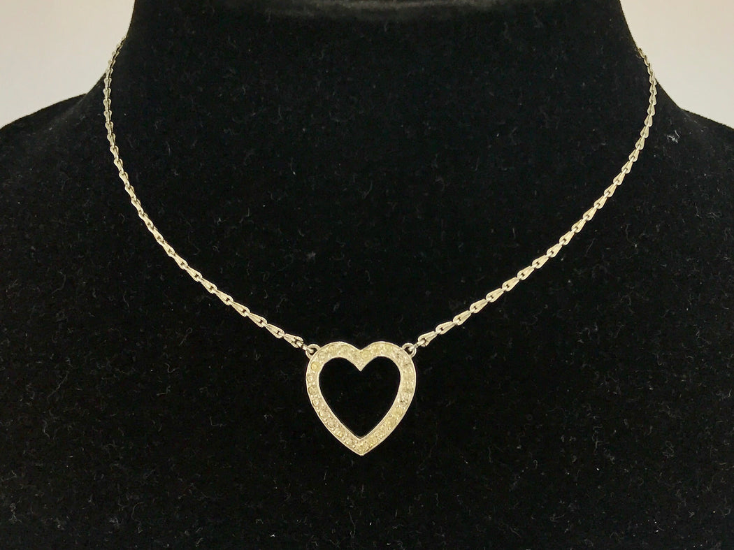 Retro Sterling Silver Rhinestone Open Heart Necklace c.1930's - Queen May
