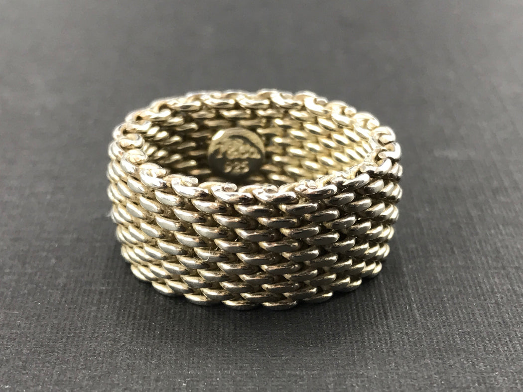 ba46bf720 Tiffany & Co Somerset Sterling Silver Mesh Ring Band Size 6.75 - Queen ...