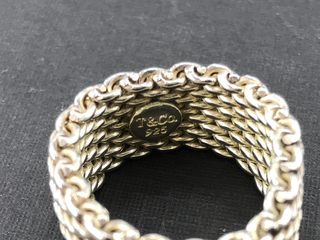 Tiffany & Co Somerset Sterling Silver Mesh Ring Band Size 6.75 - Queen May