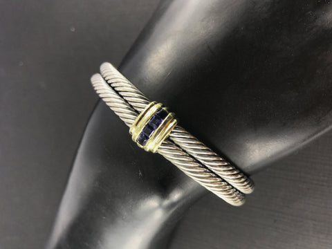David Yurman Sterling Silver 14K Gold Tanzanite Double Cable Cuff Bracelet