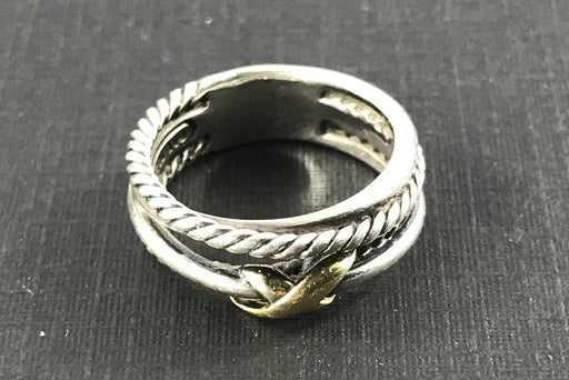 David Yurman Sterling Silver 18K Gold X Crossover Ring Band Size 5.75 - Queen May